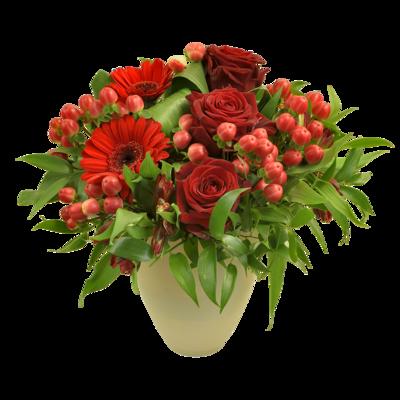 Aranžmán s červenými ružami