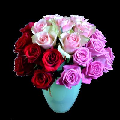 Netradičná kytica ruží troch farieb