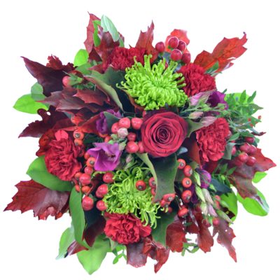 Kytica s červenými listami