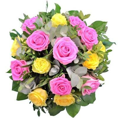 Kytica ružových a žltých ruží