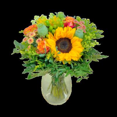 Oranžovo-žltá kytica so slnečnicami