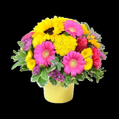 Žiarivo ružovo-žltá kytica so slnečnicami