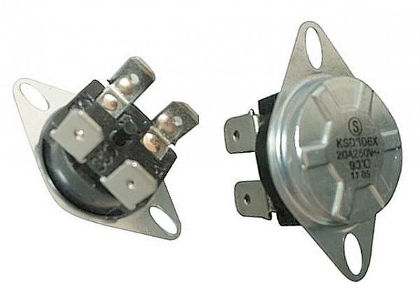 Термостат защитный на 93oС.  (Круглый корпус, биметаллический, ручной возврат, 15A) 4 вых.