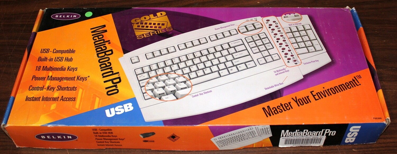 Belkin F8E886 MediaBoard Pro Keyboard, New in Box