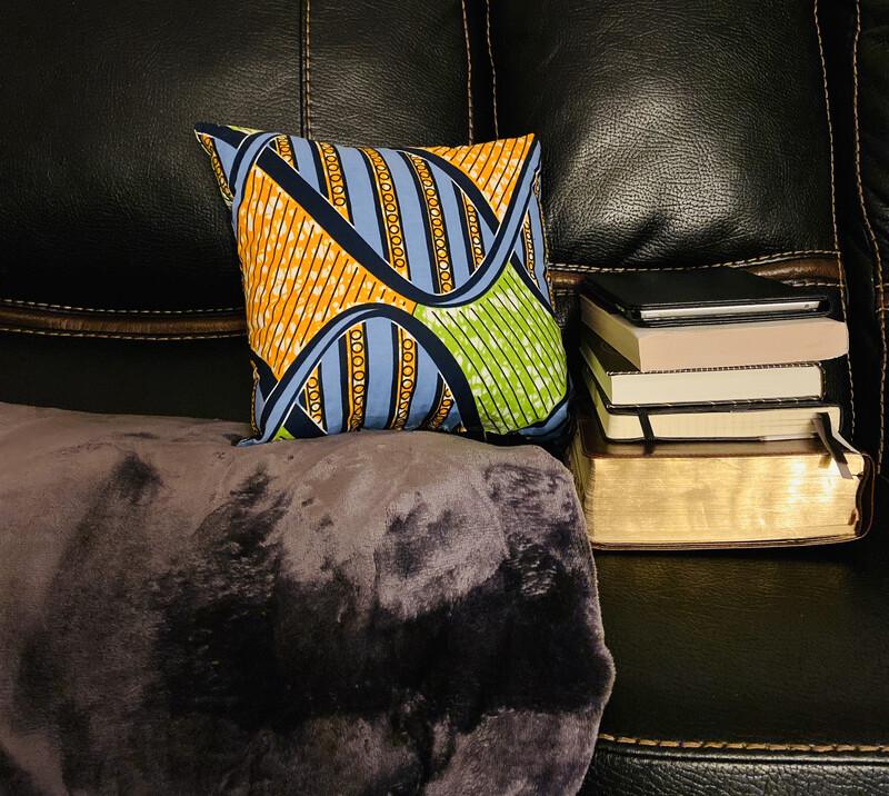Geni African Print  Throw Pillow