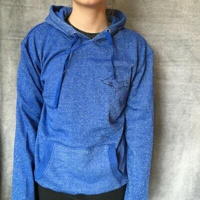 Women's Blue Glitter Hoodie Sweatshirt