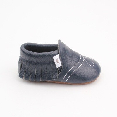 Heart Moccasins  - Navy
