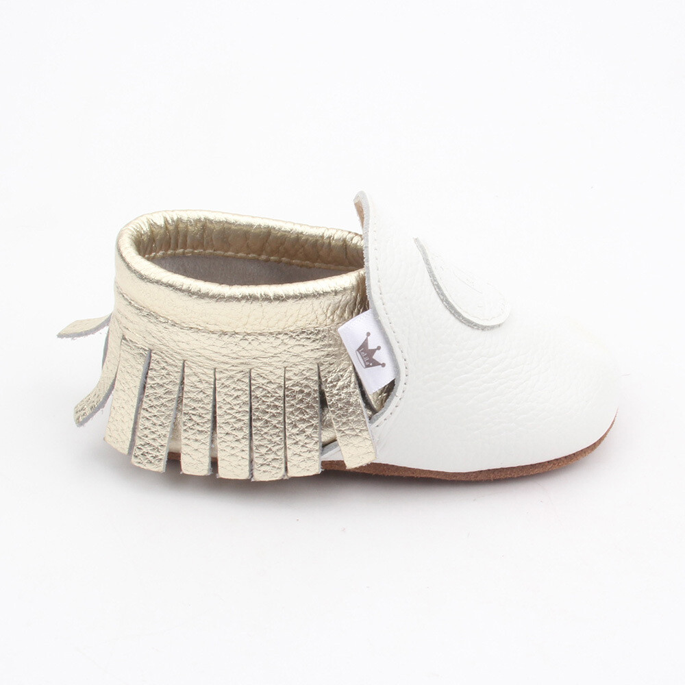 Classic Moccasins  - White / Gold