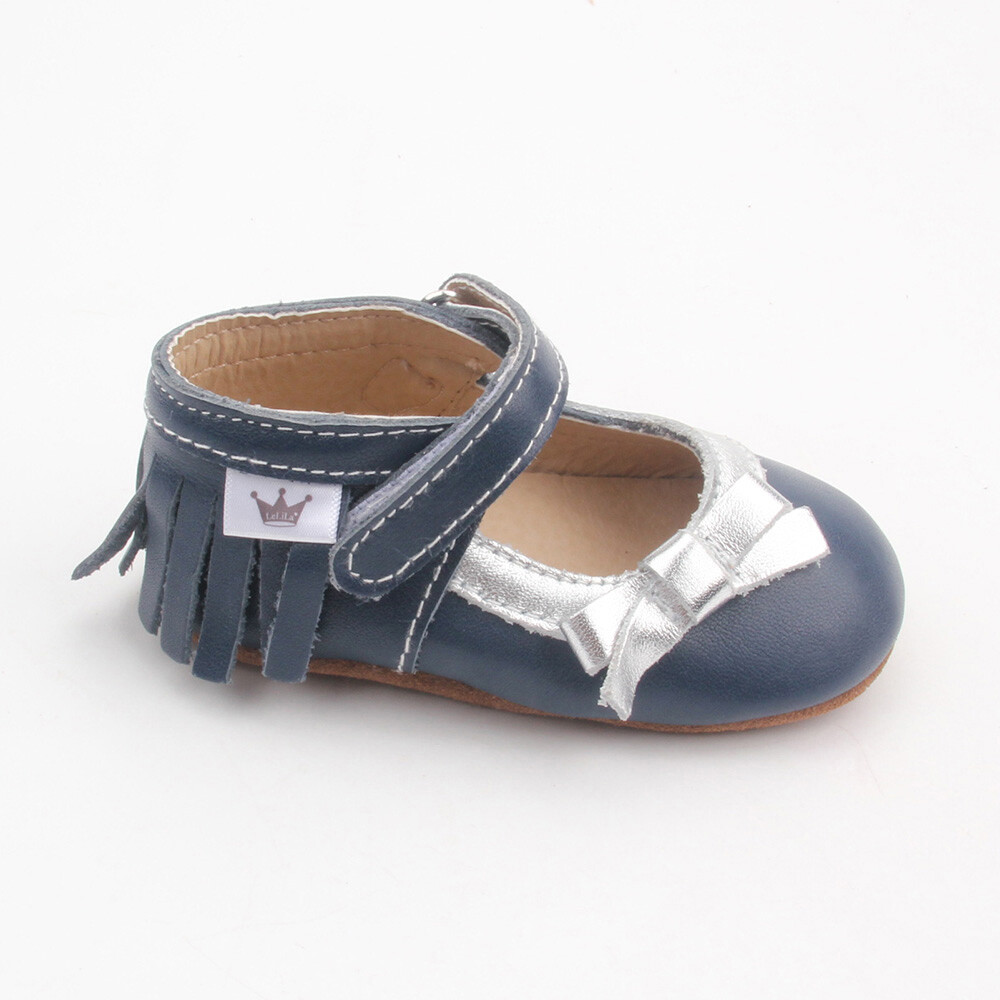 Moccasins Mary Jane Bow - Blue