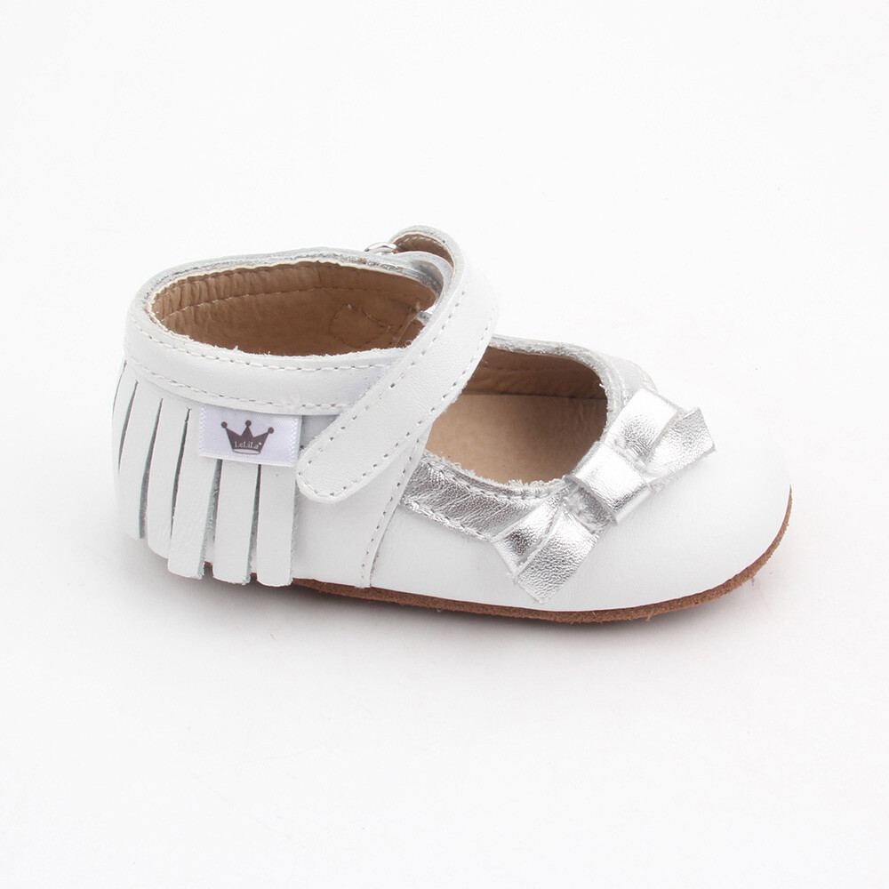 Moccasins - Mary Jane Bow - White