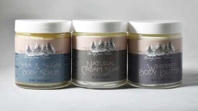 4 oz Bundle 3 pack: Natural Cream Soap, Whipped Body Butter, Shea & Sugar Scrub