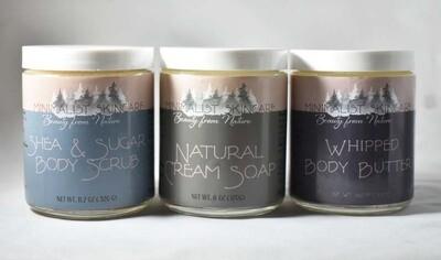 8 oz Bundle 3 pack: Natural Cream Soap, Whipped Body Butter, Shea & Sugar Scrub