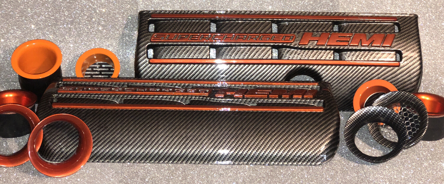 SUPERCHARGED HEMI Carbon Fiber Hydro Dipped Engine Covers - PAIR