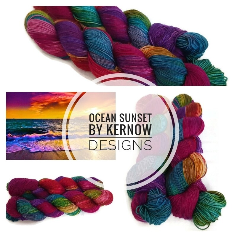 Ocean Sunset Hand Dyed Yarn