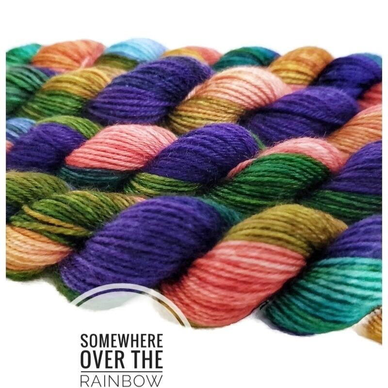 Somewhere Over The Rainbow  Hand Dyed Yarn