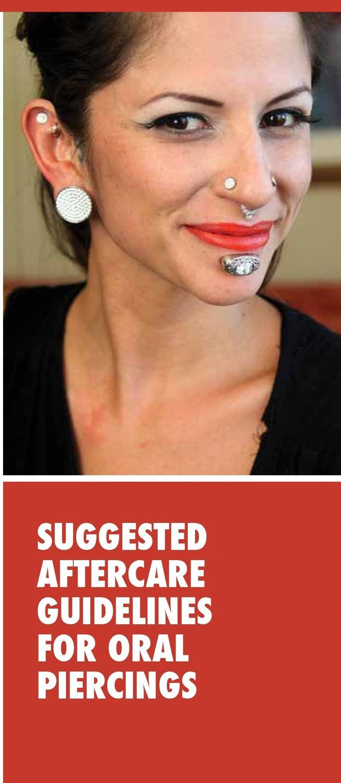 Oral Piercing Aftercare Brochures