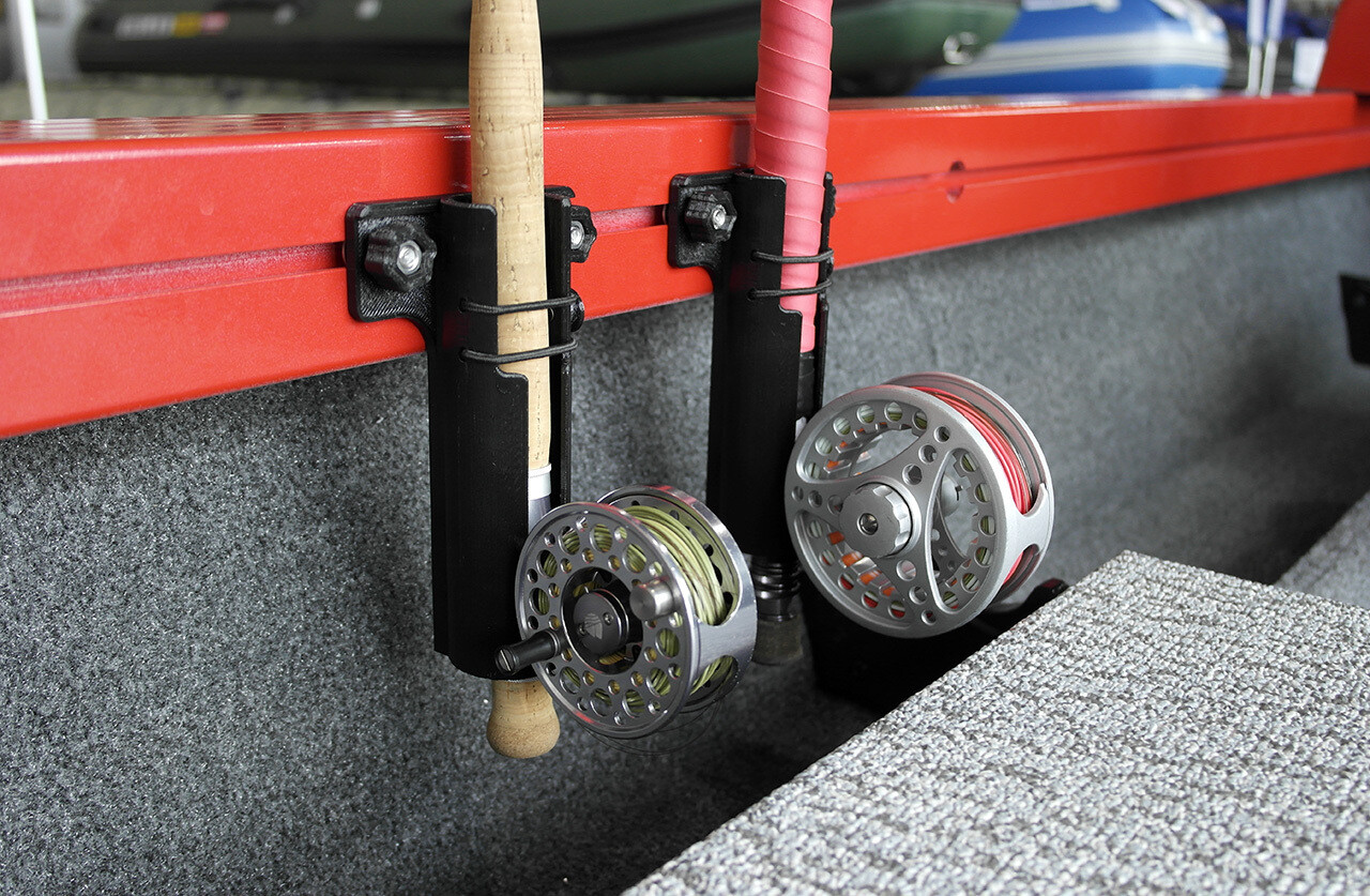 Boat fly fishing rod holder
