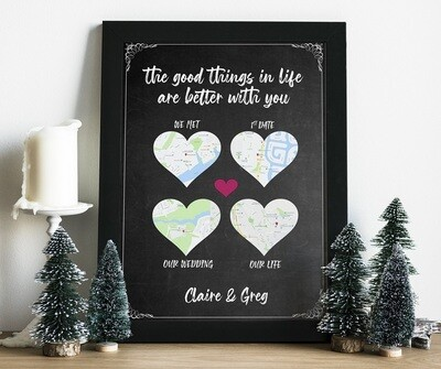 Map Our Love Personalised Frame