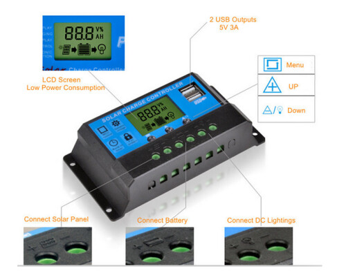 10A Solar Charge PWM Output Controller 12V/24V LCD Display Panel Charger USB Controller