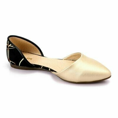 3358 Ballet Flat Shoes - Gold