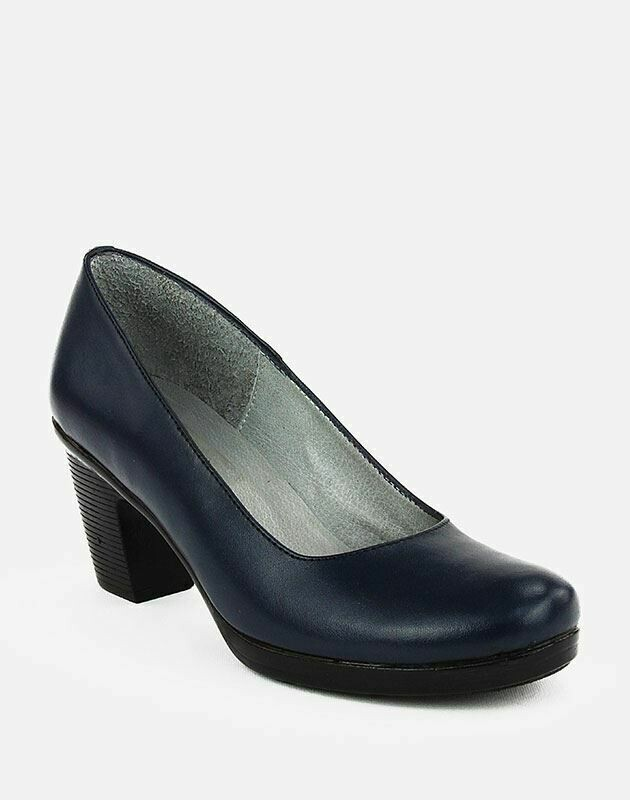 3687 Nature Leather Shoes-Navy