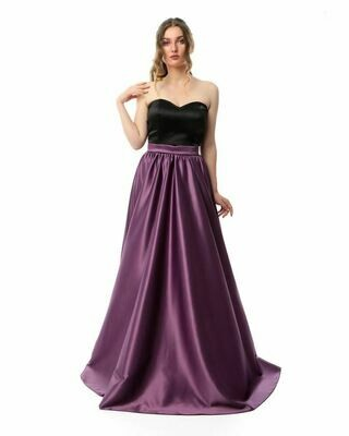 8411Soiree Dress - Black*Purple