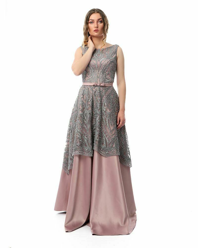 8436Soiree Dress -  Gray