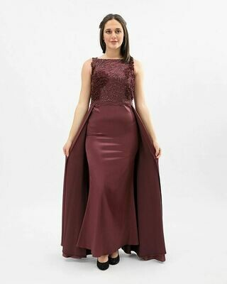 8371 Soiree Dress - Burgundy