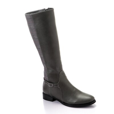 3322 - Leather Ankle Boot - Gray