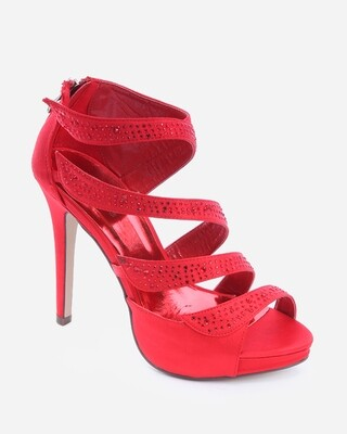 3539 Slingback Heeled Peep Toe - Red