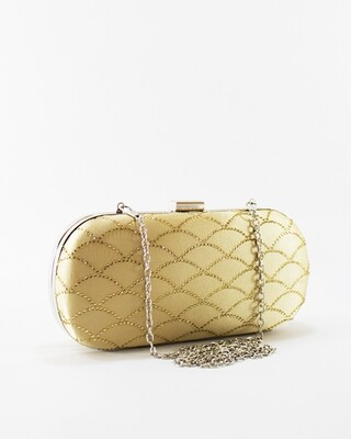 4046 Satin Clutch Bag - Gold
