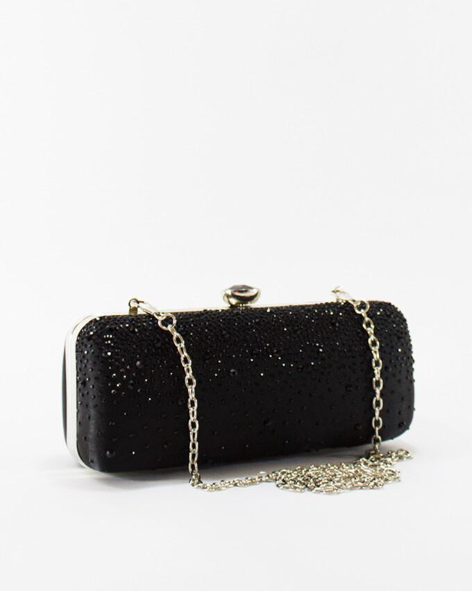4048 Satin Clutch Bag - Black