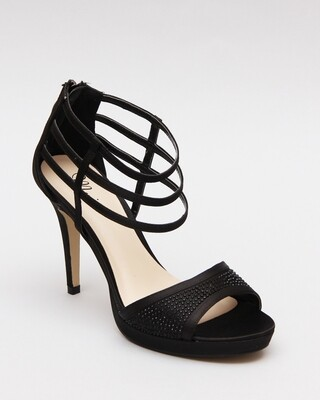 3590 Strappy Ankle Heeled Sandals - Black
