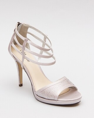 3590 Strappy Ankle Heeled Sandals - Silver