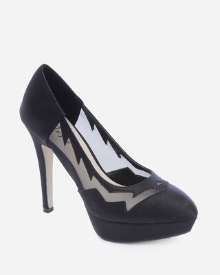 3598 Heeled satin Pumps - Black