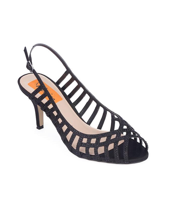 3716 Open Toe Heeled  - Black