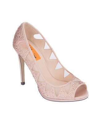 3717 Open Toe Heeled  - Champagne