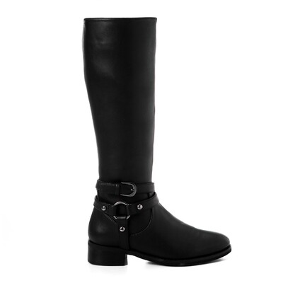 3427 -Leathe Boot - Black