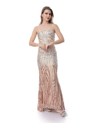 8481 Soiree Dress - Beig