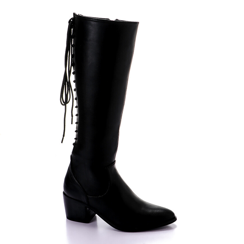 3423- Leathe Boot - Black