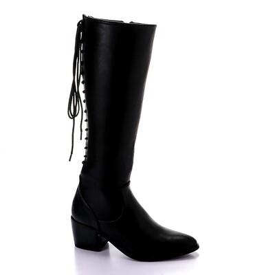3423- Leathe Boot - Black