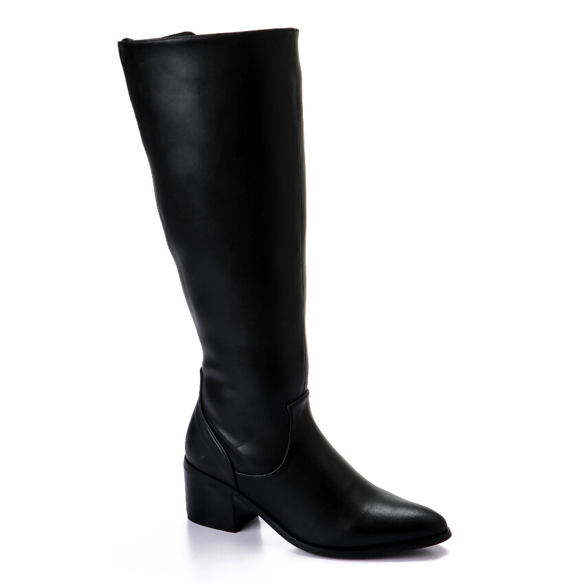 3433- Leathe Boot - Black