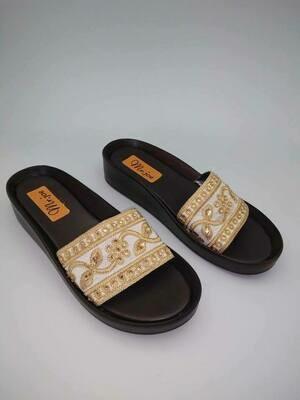 3125 Slipper - gold * White