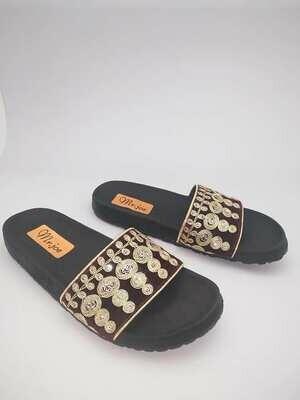 3129 Slipper - Brown* Gold