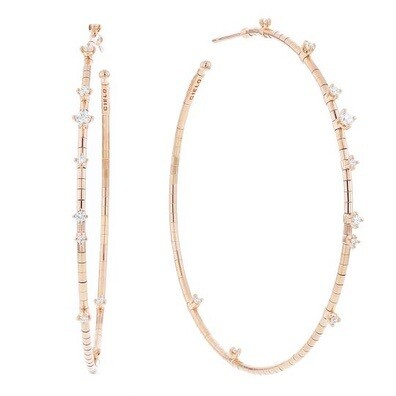 Rugiada Rose Gold Scattered Diamond Hoops