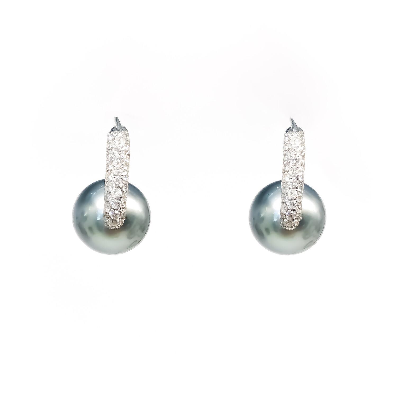 18K White Gold Tahitian Pearl Diamond Drop Earrings