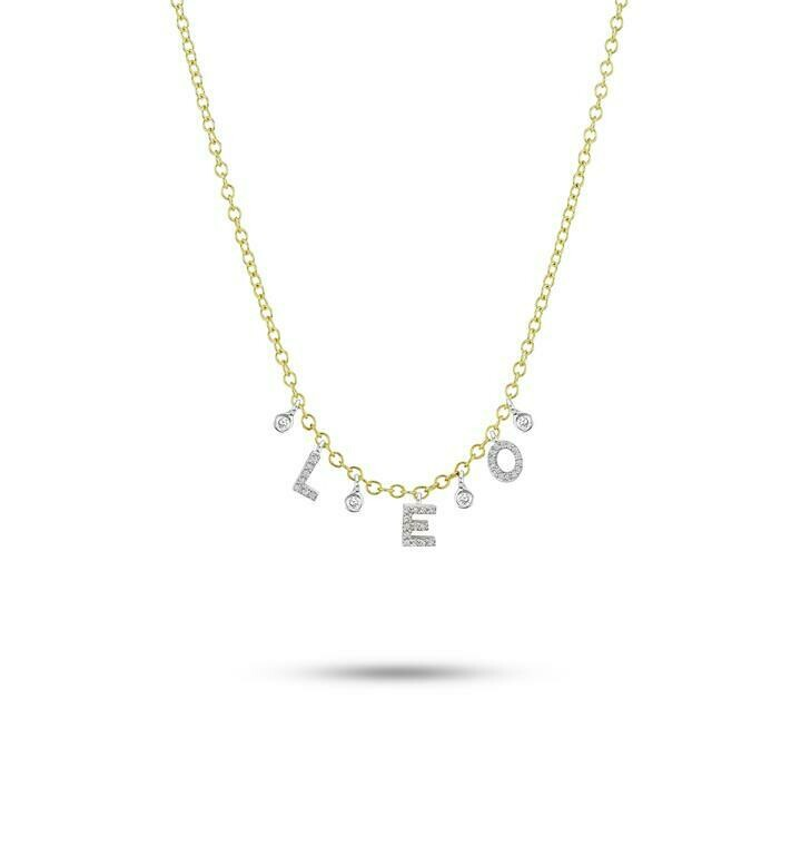 14k Custom Initial Diamond Necklace with 3 letters