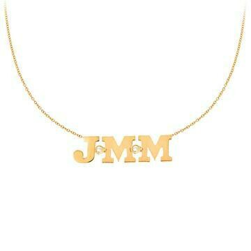 14k Custom Initial Necklace with 3 Letters