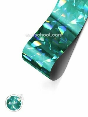 Foil holographic turquoise Crystal, 1.5 m