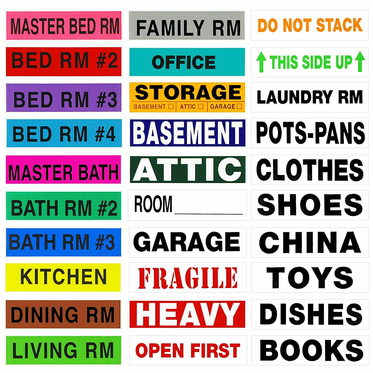 Tag-A-Room Color Coded Home Moving Box Labels Storage